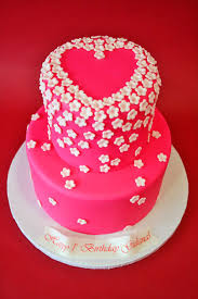 mod cakery girls birthday cakes blossoms heart 2 tier sweet