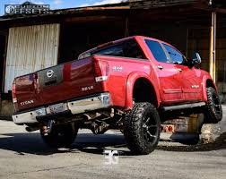 nissan truck titan red 2005 nissan titan fuel coupler rough country suspension lift 6in