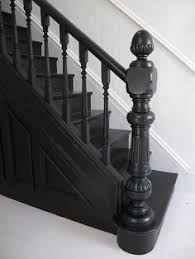 Painting A Banister Black How To Paint An Oak Stair Railing Black And White For The Home