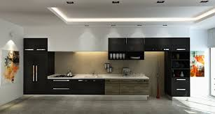 Black Kitchen Wall Cabinets Black Kitchen Cabinet Design With White Stained Wall Gray Granite
