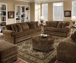 brown couch beige walls white trim living room redesign