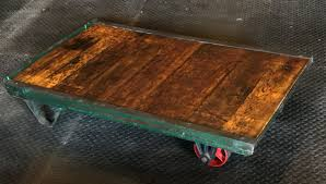 large antique industrial hand truck dolly coffee table glass to