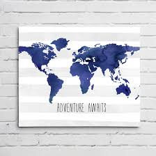 World Map Wall Sticker by Watercolor World Map Wall Art In Blue Project Cottage