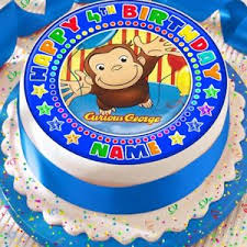 curious george cake topper curious george personalised precut edible birthday cake topper