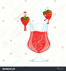 cocktail cartoon strawberry juice vector funny strawberry cartoon stock vector