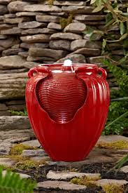 essential garden red glazed pot fountain limited availability