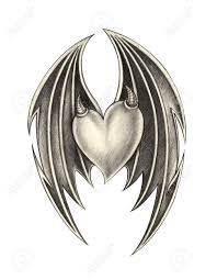 heart wing devil tattoo hand pencil drawing on paper stock photo