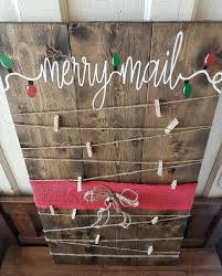 card holder decor merry mail wood