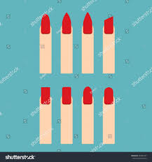 red beautiful nail shape icons set stock vector 644849227