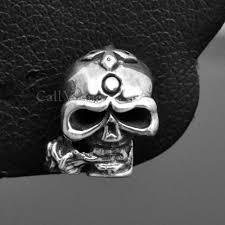 silver roses sterling silver skull earrings callvogue