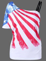 American Flag Keyboard Stickers 2018 Plus Size Patriotic American Flag One Shoulder T Shirt White