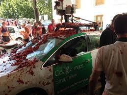 Spain Google Maps by Google Street View Car Pureed At Spanish Tomato Throwing Festival