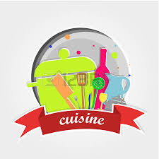 insert cuisine card cuisine items colors on white background colored squares