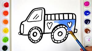 draw color paint baby truck coloring pages for kids to learn
