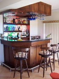 Home Bar Interior by Mini Bar For Home With Hanging Wine Glass Rack And Open Shelving