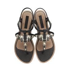 diamante decoration strap women flat heel sandals shoes yb2065