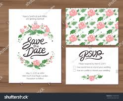 Wedding Invitations With Free Rsvp Cards Wedding Set Watercolor Flowers Save Date Stock Vector 279592799