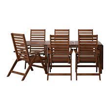6 Chair Patio Dining Set äpplarö Table 6 Reclining Chairs Outdoor äpplarö Brown
