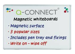 Vemund Whiteboard Magnetic Board White Q Connect Magnetic Drywipe Whiteboard Notice Board 1200x900mm