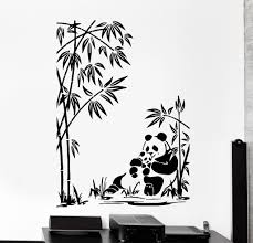 wall vinyl decal panda family baby bamboo jungle home interior