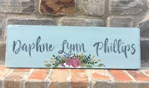 custom floral name sign personalized floral wood sign floral baby