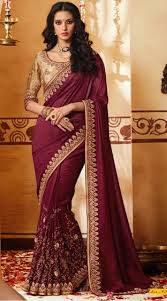 golden blouse embroidery work wine color saree with golden blouse ek420542