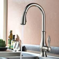 moravia deck mounted kitchen sink faucet with pull down spray moravia is a stylish kitchen faucet available in three different finishes brushed nickel gold and oil rubbed bronze it is a tall faucet and it comes