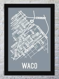 Waco Map Waco Texas Street Map Print Street Posters