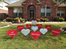 newlywed decorations yard display to welcome the couple home