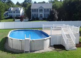 pool chic white above ground swimming pool with oval pool shape