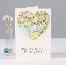 personalised map wedding and anniversary card by bombus