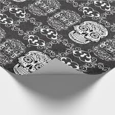 skull wrapping paper decorative sugar skull black white grunge wrapping paper
