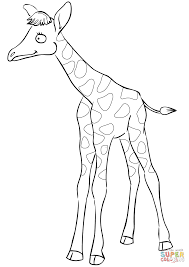 cute cartoon baby giraffe coloring page free printable coloring