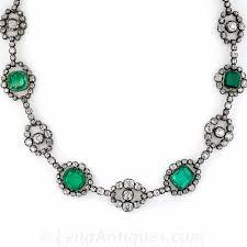 antique emerald necklace images Antique emerald and diamond necklace jpg