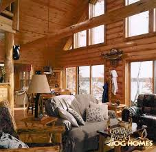 golden eagle log and timber homes log home cabin pictures great room view 1