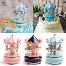 carousel cake topper 1pcs carousel cake topper wooden carousel box birthday cake