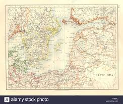 Baltic Sea Map Baltic Sea Sweden Prussia Denmark Livonia Courland Finland Stock