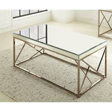 Mirrored Top Coffee Table Steve Silver Mirror Top Coffee Table In Copper Chrome Ebay
