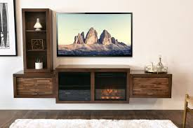 wall mount floating fireplace tv stand eco geo mocha woodwaves