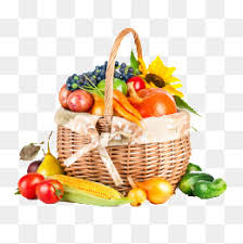 fruit and vegetable basket a basket of fruits and vegetables carrot eggplant green pepper