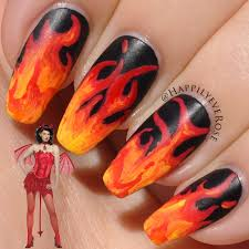 halloween devil costume nail idea with tutorial nails pinterest