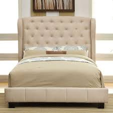queen size fontes ivory wingback padded flax fabric bed frame