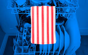hang a dish towel inside the dishwasher to show the dishes are