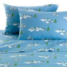 essential home polar bear flannel sheet set