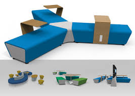 Modular Upholstered Bench  Contemporary  Fabric  For Public - Hive furniture