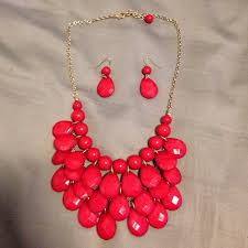 red necklace statement images Francesca 39 s collections jewelry red statement necklace matching jpg