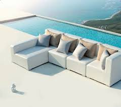 Nicosia White Outdoor Small Sectional Sofa W Left Facing Chaise - White outdoor sofa