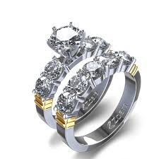 wedding set 2 ctw shared prong diamond wedding set in 14k two tone gold