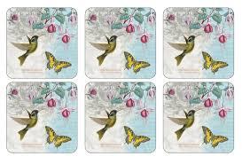 portmeirion botanic garden hummingbird coasters set of 6