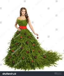 model dress christmas tree woman dress fashion model stock photo 335108177